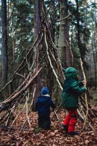 Fun with shelters at Forest School