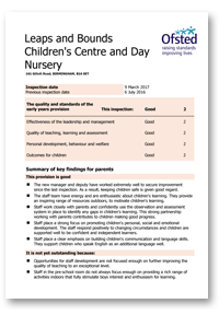 Ofsted Report for Leaps & Bounds Day Nursery, Edgbaston, Birmingham