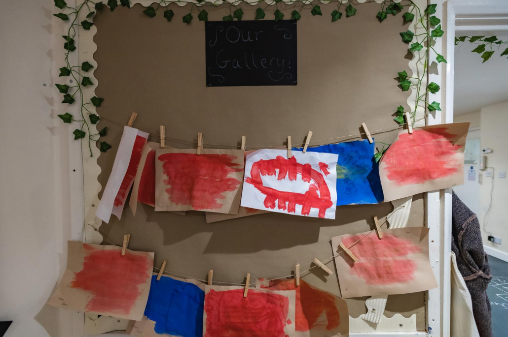 Some of the children's masterpieces hanging up to dry.