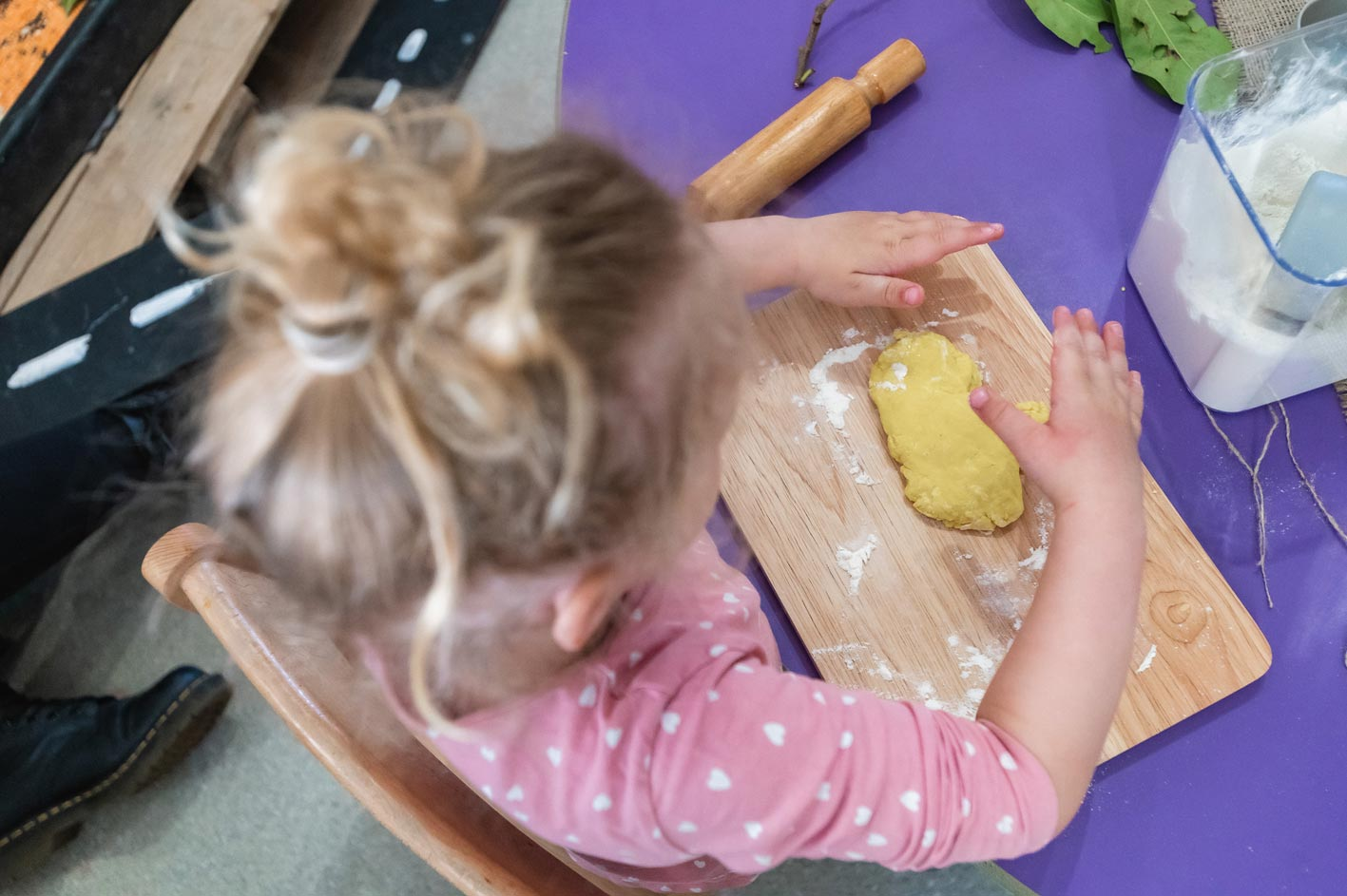 Dough-making at Leaps & Bounds Day Nursery in Birmingham.