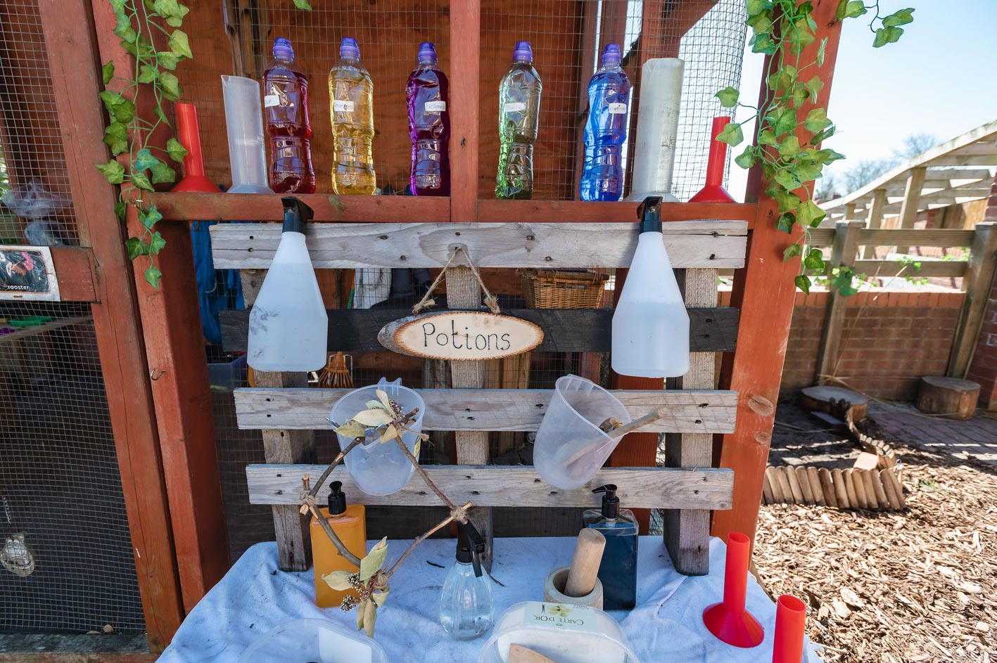 Some of the outdoor equipment allows children to mix & measure coloured water, use a pestle and mortar and to make pretend potions!