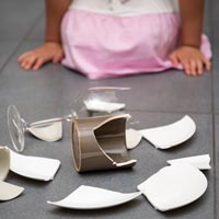 Avoid the use of tablecloths and table 'runners' when children are young. One tug and there could be a nasty accident.