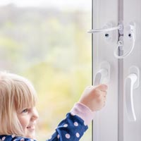 It's important to have safety locks on windows, doors and cupboards.